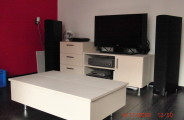 berken multiplex white wash salontafel met audio meubel