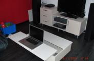 berken multiplex white wash salontafel met opberg ruimte klep dient als extra tafel
