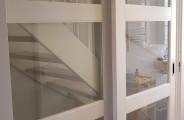 schuifdeuren voor dubbele open trap voorzien van veiligheidsglas